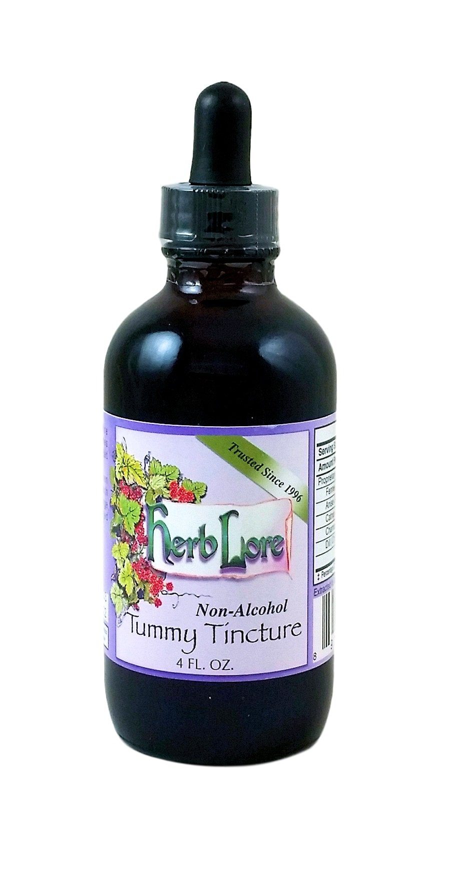 Herb Lore Organic Tummy Tincture, 4 Ounces, Non-Alcohol - Natural Herbal Formula for Relief of Heartburn, Acid Reflux, Nausea, Gas Pain and Infant Colic
