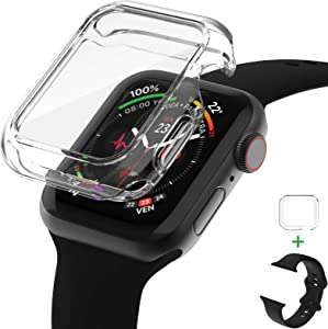 AVIDDA Tempered Glass Screen Protector Compatible for Apple Watch 40mm Series 6/5/4/SE, Soft TPU Ultra-Thin Bumper Full Cover Protective Case for iWatch 40mm Clear (Apple Watch Band Include)