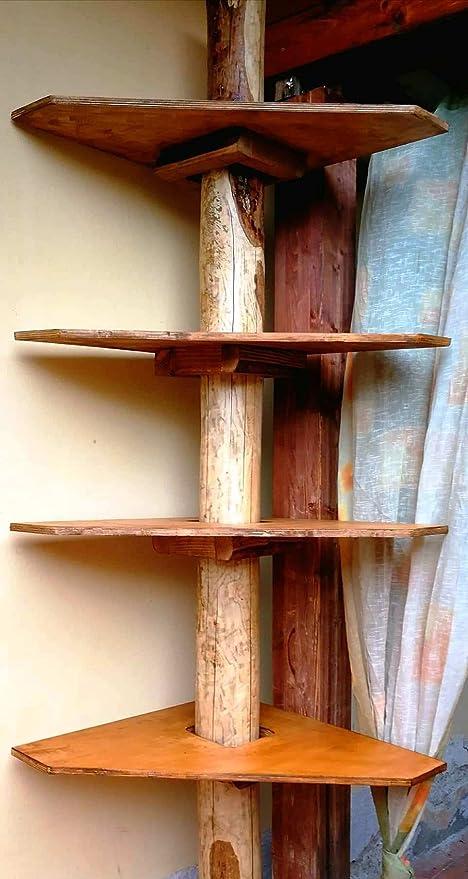 Prezzo Libreria Su Misura.Wood Art Ely Libreria Ad Angolo Con Tronco In Castagno Vintage