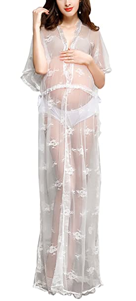 Happy cherry - Vestido de Maternidad para Fotografía Bata Transparente Ropa de Premamá de Gasa Ligera