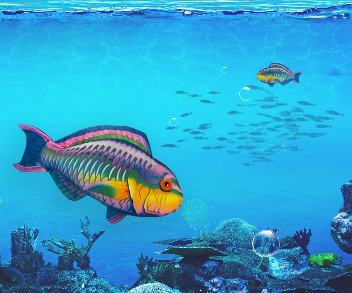 """iConcern Tropical Fish Pillow, 100% Polyester 28"""" x 15"""" with Photo-Real Printing and Great Home and Outdoor Decoration (Parrotfish)."""