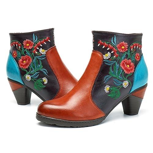 Socofy Botines de Cuero, Zapatos de Cuero de Invierno de Las Mujeres Botas Ocasionales Botines Calientes de Oxford con Botas Modelo de Zapatos de boemi ...