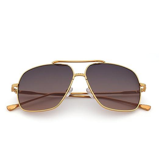 Oversize Flieger Sonnenbrille Gradient Klar Linse Pilot Metall Gläser Damen Herren(Gold/Klar) dWrGR