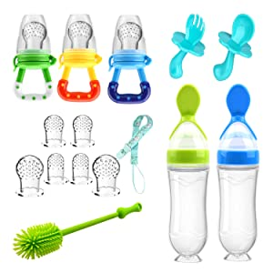 Food Feeder Baby Fruit Feeder Pacifier (3 Pcs) with 6 Different Sized Silicone Pacifiers 2 PCS Silicone Baby Food Dispensing Spoon 90ML with 2 Baby Spoons Silicone Bottle Brush Pacifier Clip