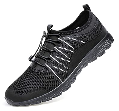 5ba2c9837f23d Alibress Fashion Walking Shoes for Men Lightweight Breathable Running Shoes  All Black 7 M US