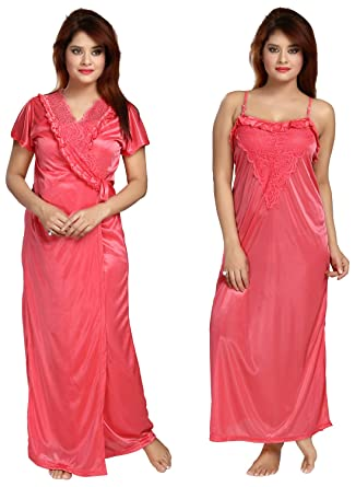Be You Fashion Women Satin Peach Lace 2 Piece Nighty Set at Amazon ... 0468feed4