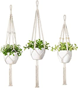 Mkono 3 Pack Macrame Plant Hangers 3 Different Sizes Indoor Outdoor Hanging Planter Basket Flower Pot Holder Boho Home Decor