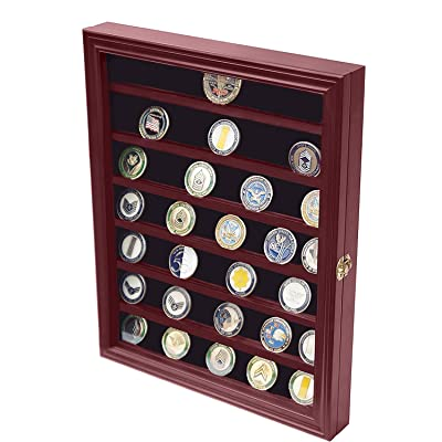 DECOMIL - Military Challenge Coin Display Case Cabinet Rack Holder with Door: Home & Kitchen