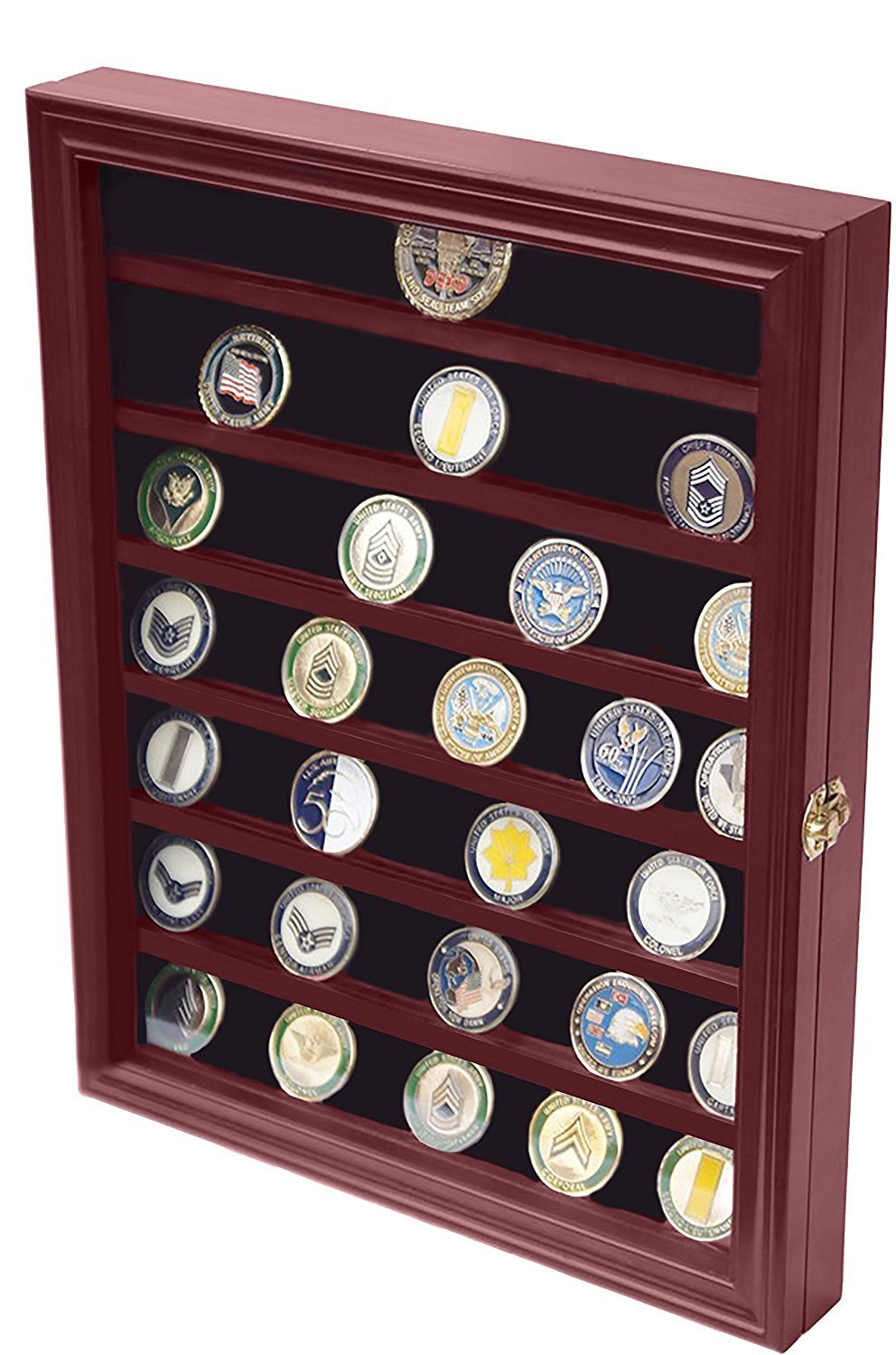 DECOMIL - Military Challenge Coin Display Case Cabinet Rack Holder with Door by DECOMIL