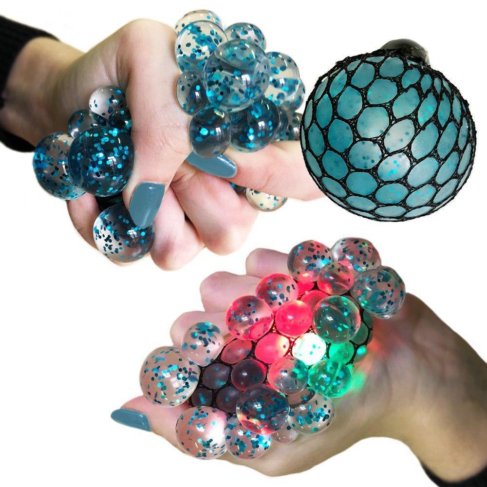 MorganProducts Led Anti Stress Ball - Squishy Light up Ball - Anti Stress Toys - Toys for Kids - Mesh Stress Ball - Grape Ball - DNA Ball - Prime Toys - Slime Stress Ball - ADHD Fidget Toys