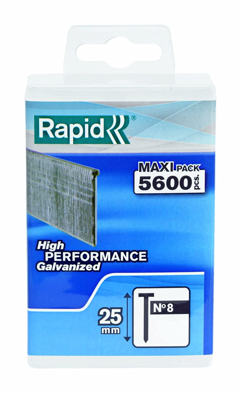Rapid Nä gel Typ 8/25 mm, 5600 Stü ck Wiederverschließ bare Kunststoffbox, 5000183