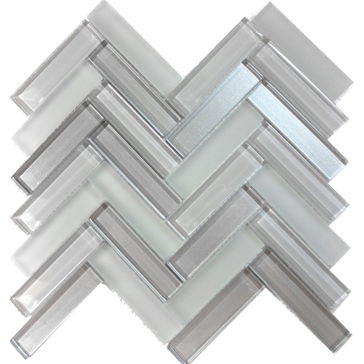 Modket TDH227MO Gray Crystal Glass Blend Metallic Cold Spray and Matted Glass Mosaic Tile Backsplash Herringbone