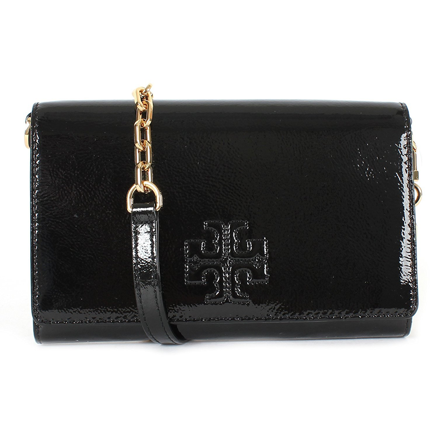 Tory Burch Charlie Patent Leather Flat Wallet Crossbody, Style No. 34050 (Black)