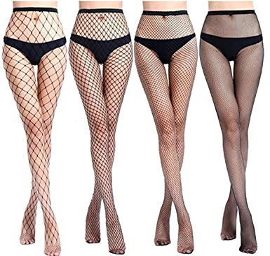c642364690350 4 Pairs High Waist Tights Fishnet Stockings for Womens Girls(No Pants  Include)Thigh High Sexy Stockings Pantyhose (Black, One Size):  Amazon.co.uk: ...