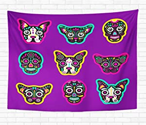 Assp Tapestry Patch Badges Sugar Skull Dog and Cat Very Large 60x80 Inches Home Decorative Wall Hanging Tapestries for Living Room Bedroom Dorm