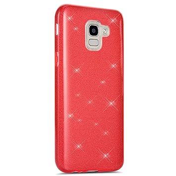 Coovertify Funda Purpurina Brillante Red Rose Samsung J6 2018, Carcasa roja Resistente de Gel Silicona con Brillo Rojo Rosa para Samsung J6 2018 ...