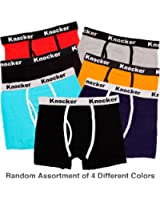 Knocker Men's 4 Pack of Stretch Cotton Color Boxer Briefs