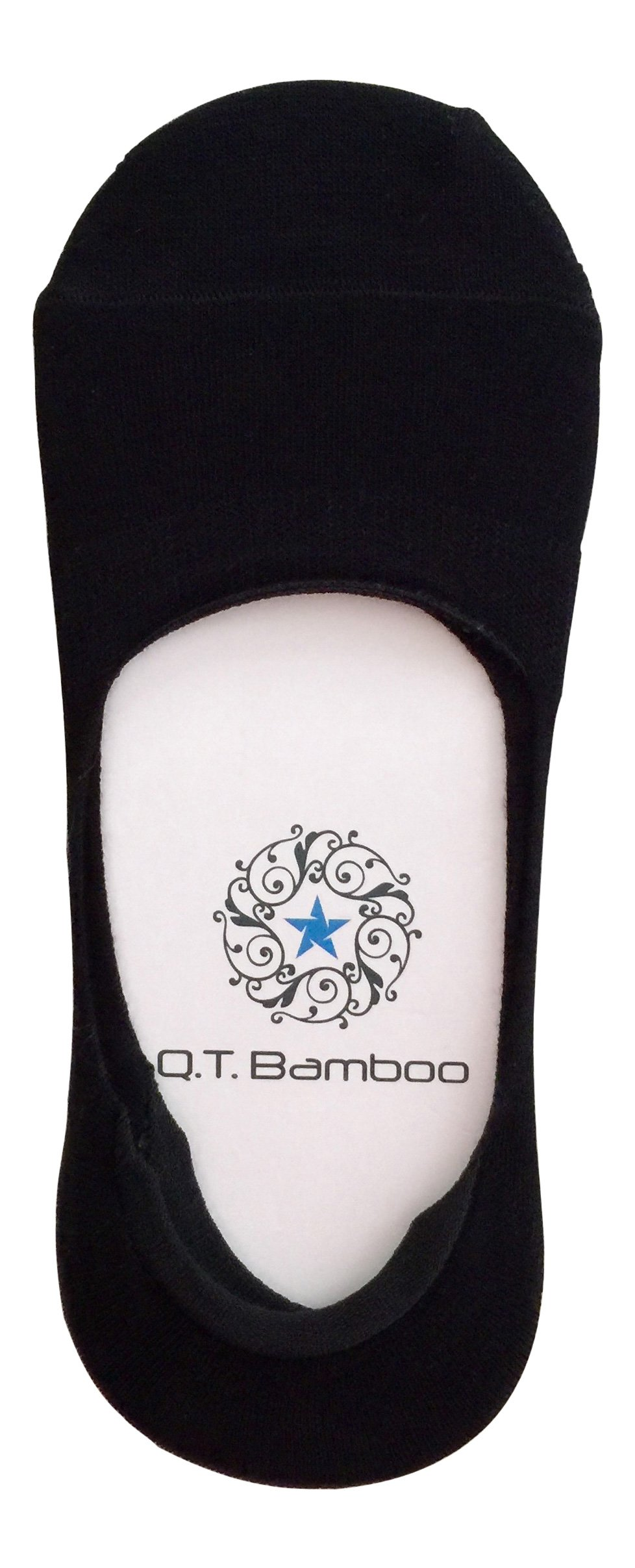 Q.T. Bamboo Men's No Show Sock Liners, Available in 5 Colors (4 Pairs to a Pack)