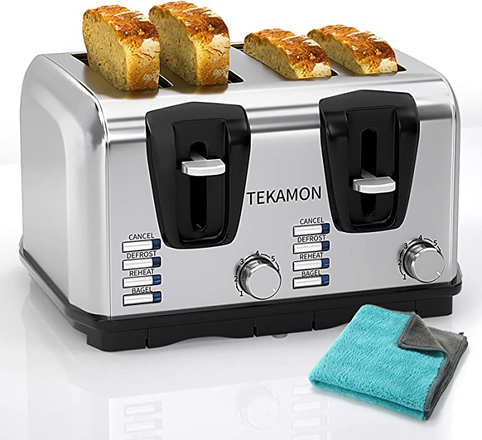 TEKAMON Toaster Slice 4 Classic Stainless Steel Toaster, Extra Wide Slots, 7 Bread Shade Settings, Bagel/Reheat/Defrost/Cancel Function, Removable Crumb Tray, Turquoise Cleaning Cloth