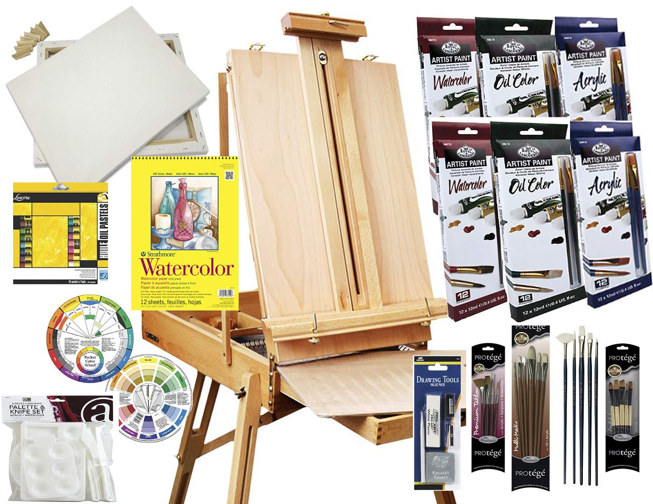 Artist Painting Set W/Table-Top & Full Easel, Art Painting Brushes, Paint Tubes, Painting Pads, Stretched Canvas, Painting Knives for Oil, Watercolor, Acrylic Painting & Art Sketch by French Easels