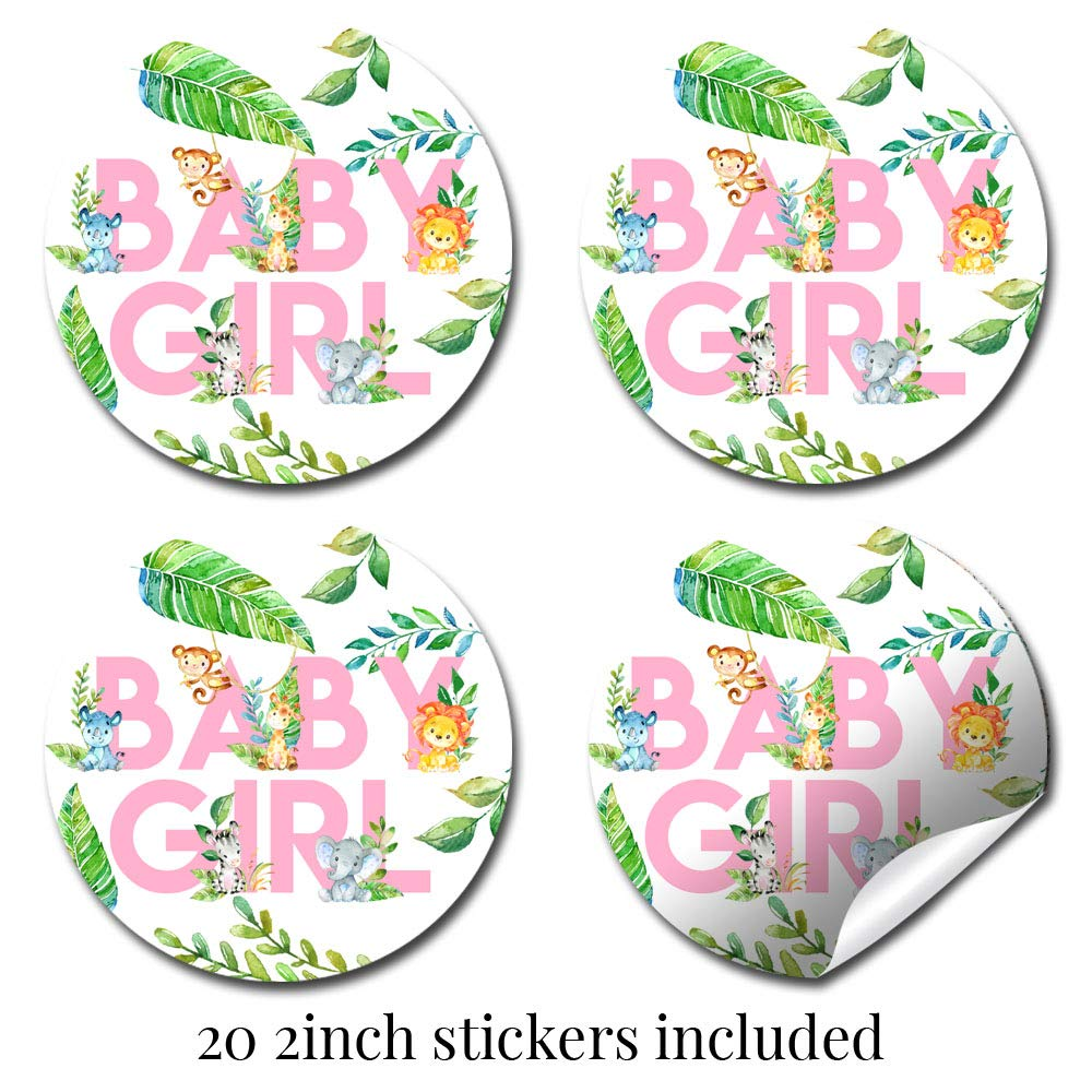 "Deluxe Watercolor Jungle Animals Baby Shower Party Bundle for Girls, Includes 20 each of 5''x7'' Fill In Invitations, Diaper Raffle Tickets, Bring a Book Cards & 2"" Thank You Favor Stickers w/ Envelopes by Amanda Creation (Image #4)"
