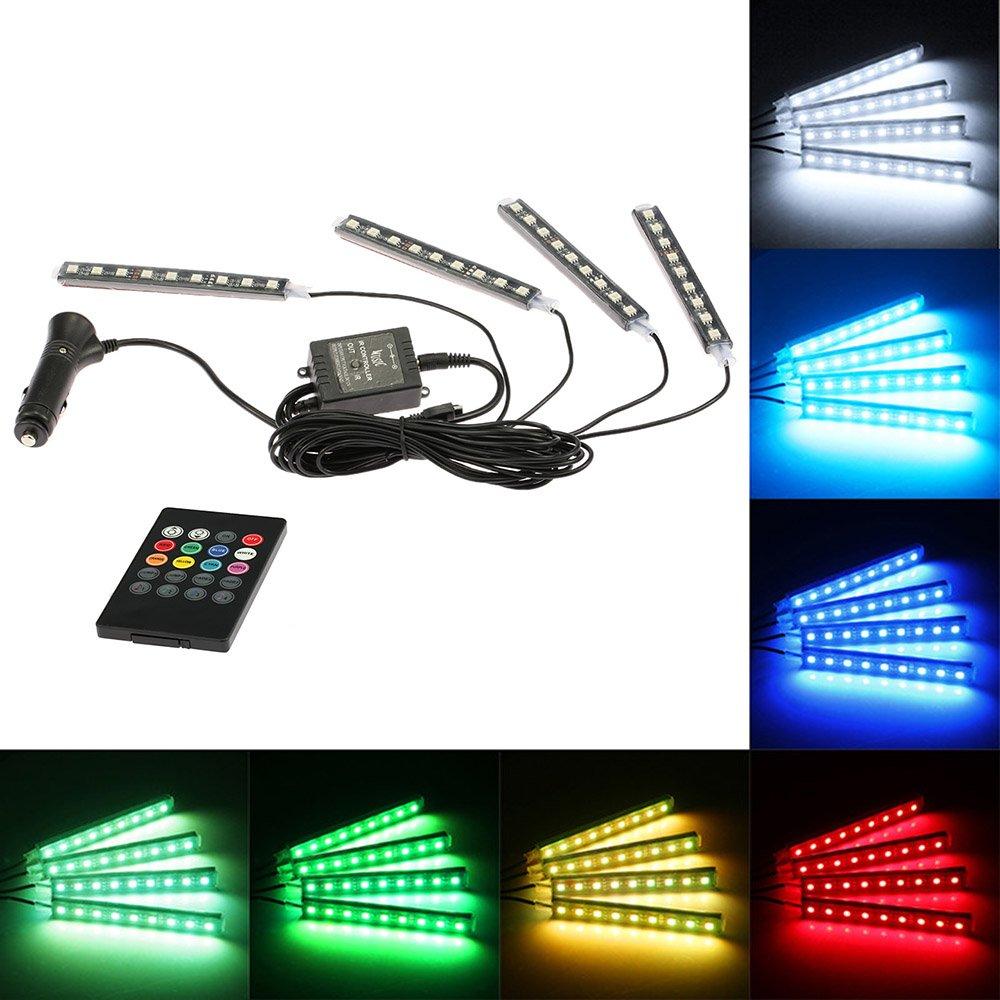 KKmoon - Barra luminosa a Led 4 in 1, luce decorativa per interni auto, 7 colori RGB, con telecomando wireless Control Remoto