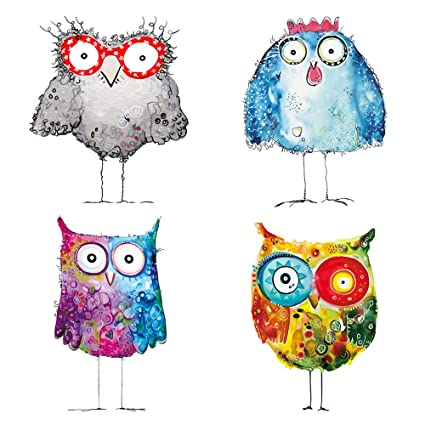 Amazon.com: decalmile Colorful Owl Wall Stickers Kids Room Wall ...