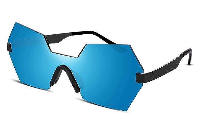 fc3cf83861 FEISEDY Diamond Hexagon Rimless Metal Frame Flat HD Lens Men Women  Sunglasses B2252