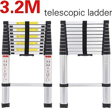 Escalera telescópica plegable multiusos de 3,2 m, de aluminio, plegable, para el ático, plegable, ligera, plegable, capacidad de carga máxima: 330 lbs 11 peldaños: Amazon.es: Bricolaje y herramientas