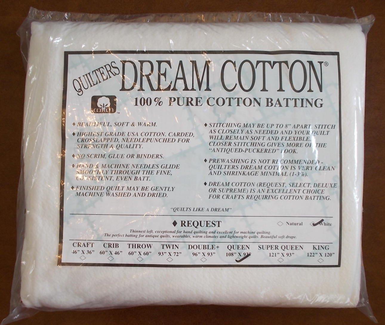 Quilters Dream Cotton White Request, Low Loft Batting - Queen Size 108'X93' Low Loft Batting - Queen Size 108X93