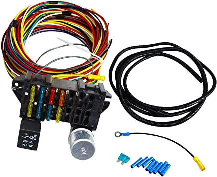 amazon.com: bettercloud 8 circuit 10 fuse 12v wiring harness w/small fuse  block fit for muscle car hot rod street rod rat rod universal: automotive  amazon.com