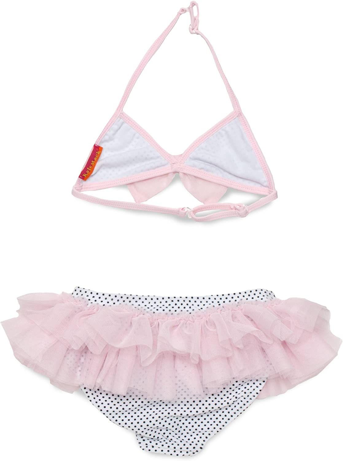 Kate Mack Girls 2-6X Jenny Annie Dots 2 Piece Polka Dot and Ruffle Skirted Swimsuit in White Black