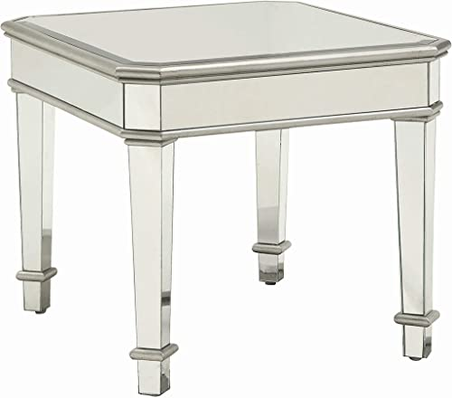 Cheap Coaster Home Furnishings Square Mirrored End Table Silver living room table for sale