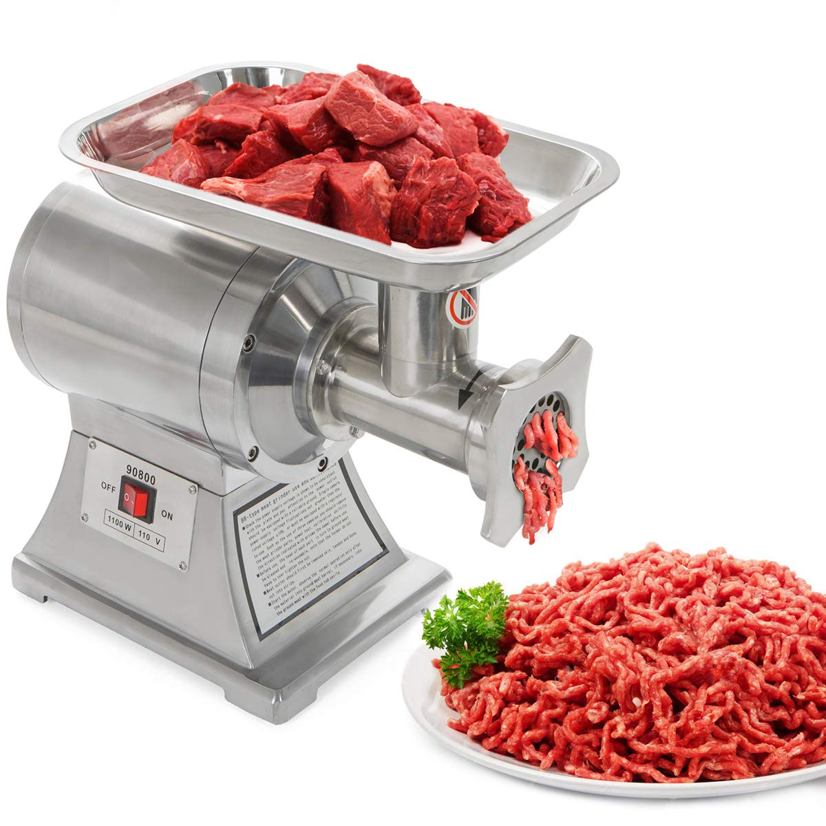Ensue Commercial 1100W Electric Meat Grinder Mincer Stainless Steel Industrial 1HP (FDA Certificated) #12 Grinder Size by Barton
