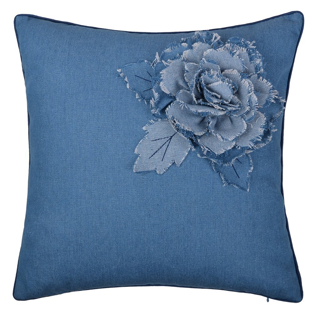 KingRose Handmade 3D Denim Rose Flower Decorative Throw Pillow Case Square Cushion Cover for Sofa Couch Chair 18 x 18 Inches