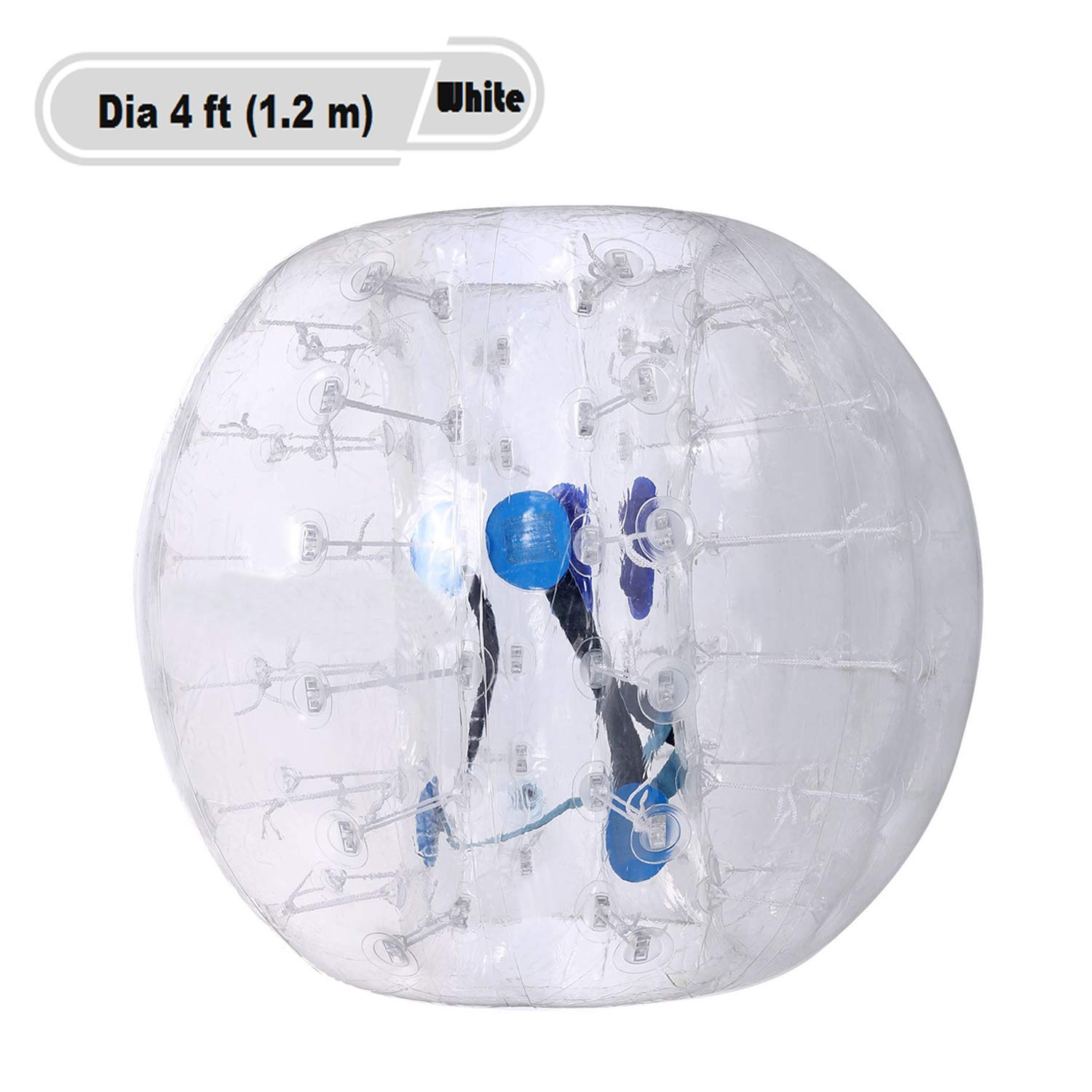 Yiilove Inflatable Bumper Ball 4 ft/5 ft(1.2/1.5 m) Bubble Soccer Ball Transparent Material Human Knocker Ballfor Adults and Kids (Dia 4 ft (1.2 m)-White)