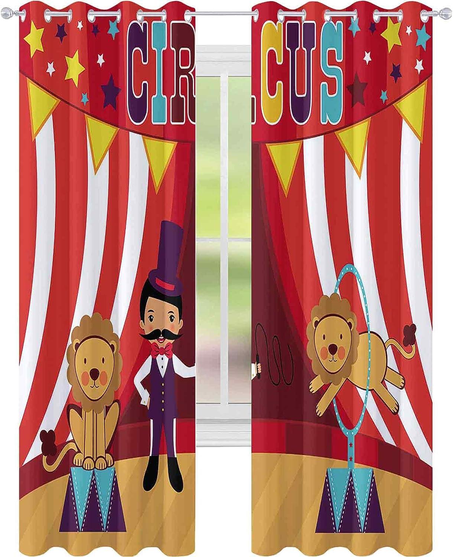 YUAZHOQI Print free Curtains Tamer Max 46% OFF and W52 x Lions Circus Performance