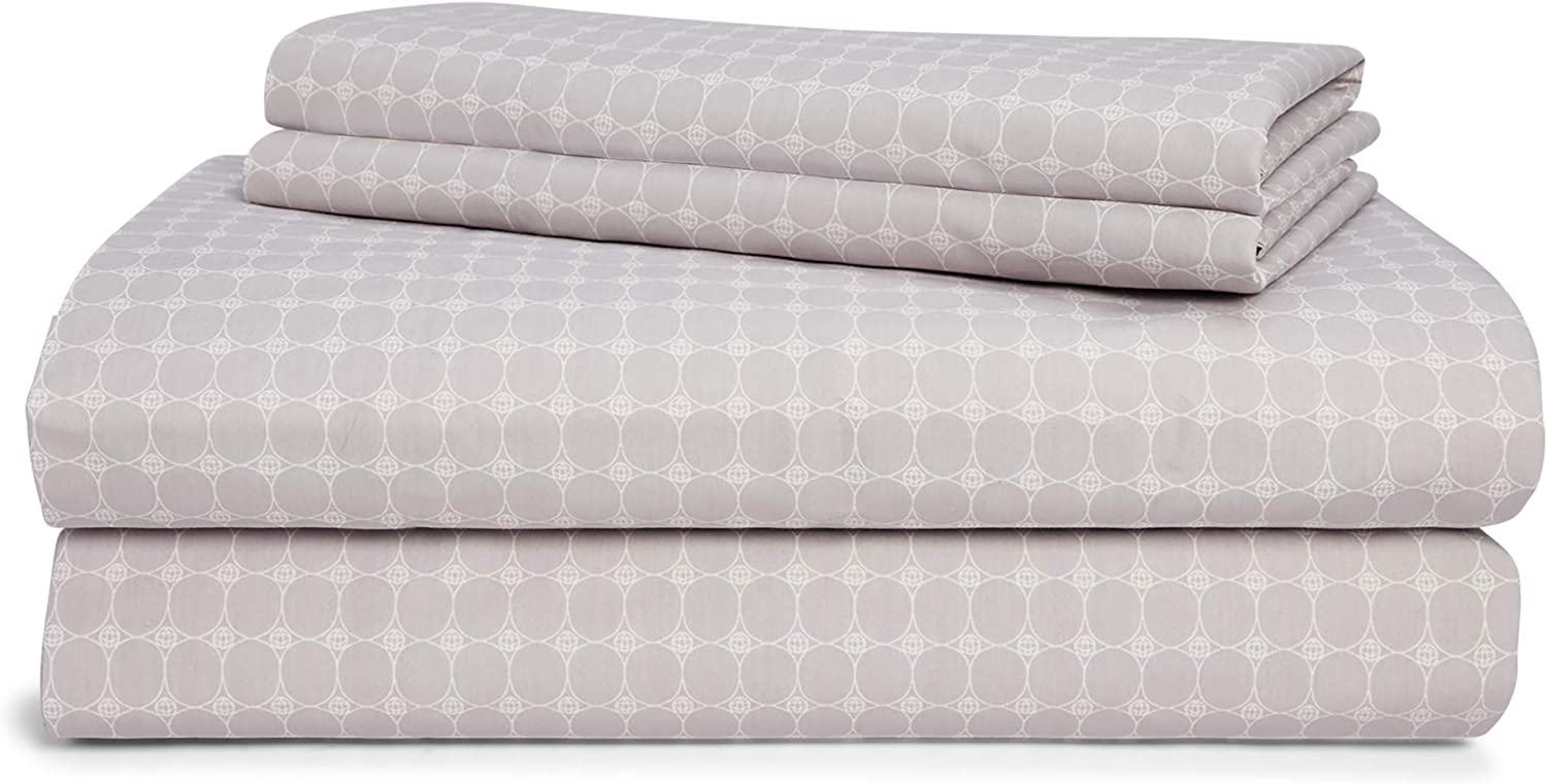 Chaps Home CLAREMOUNT Circle 60% Cotton/40% Poly Printed Sheets-200 Thread Count Bed Sheet Set-15 Inches Deep Pocket (King), King, Grey