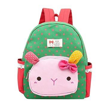 Mochila para niñas - Saihui bonito dibujos animados conejo animales guardería guardería infantil libro mochilas bebé niñas escuela bolsas verde: Amazon.es: ...