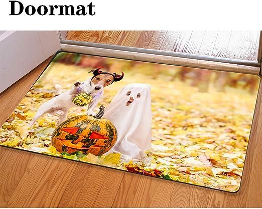 Halloween dog Absorbent Flannel Bath Bathroom Shower Mat Rug Non-Slip 40*60cm
