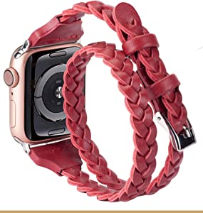Moolia Double Leather Band Compatible with Apple Watch 38mm 40mm, Women Girls Woven Slim Leather Watch Strap Double Tour Bracelet Replacement for iWatch SE Series 6 5 4 3 2 1 (Red, 38mm/40mm)