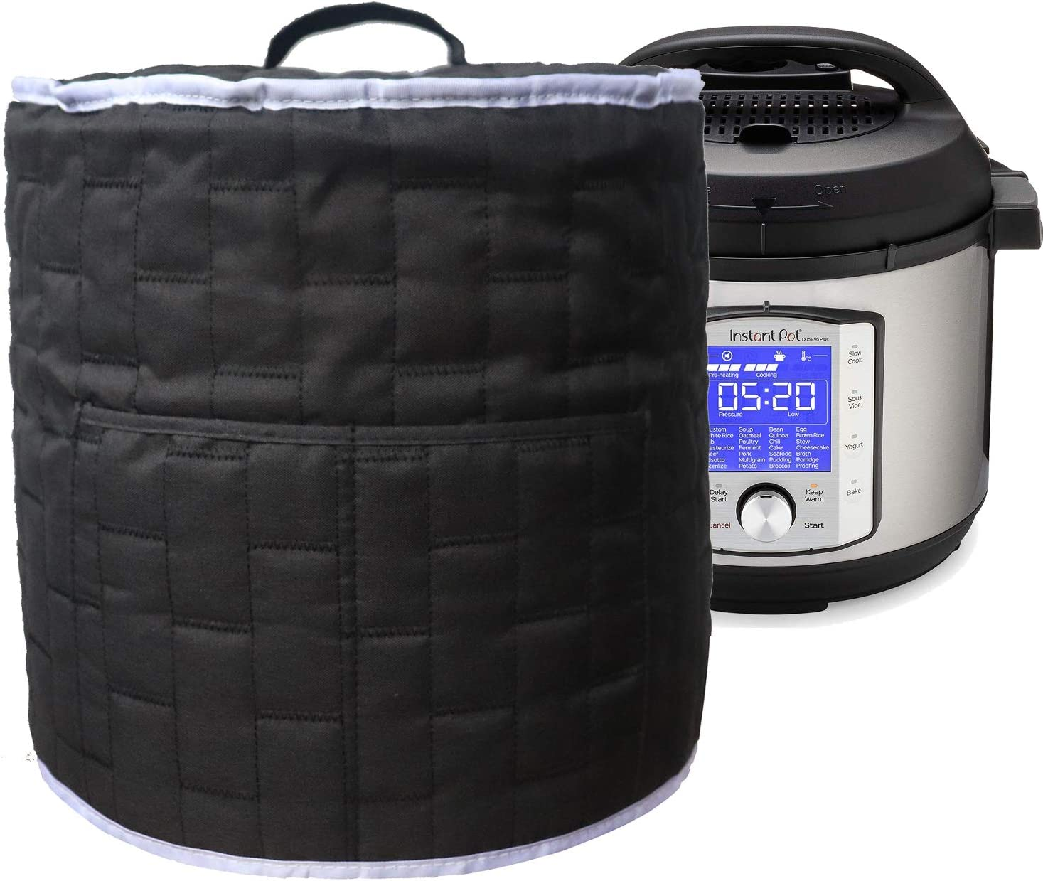 Pressure Cooker Dust Cover with Pocket, (For 6 Quart Instant Pot, Black)