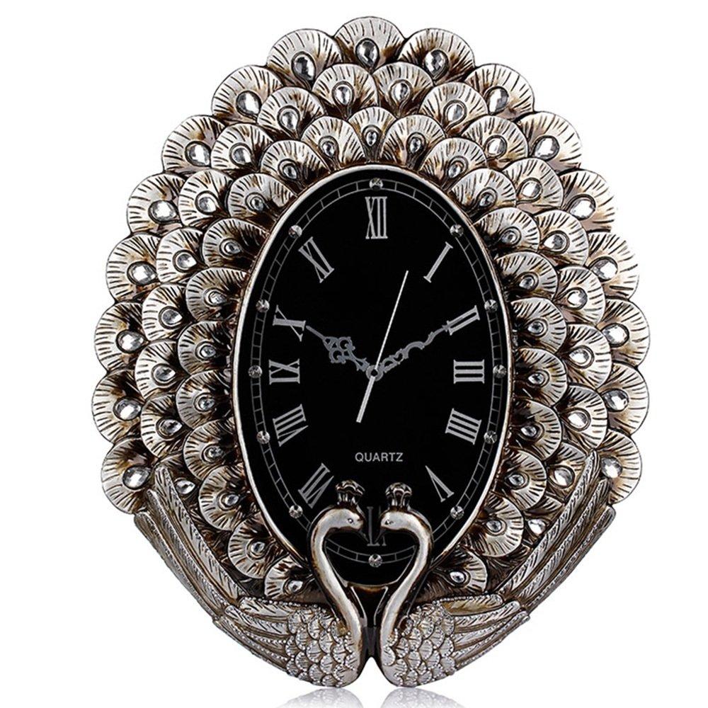 Cai 置き時計掛け時計-ヨーロッパのレトロ家の装飾ミュートの壁時計リビングルームの壁時計のピーコック B07C5FBJ8X