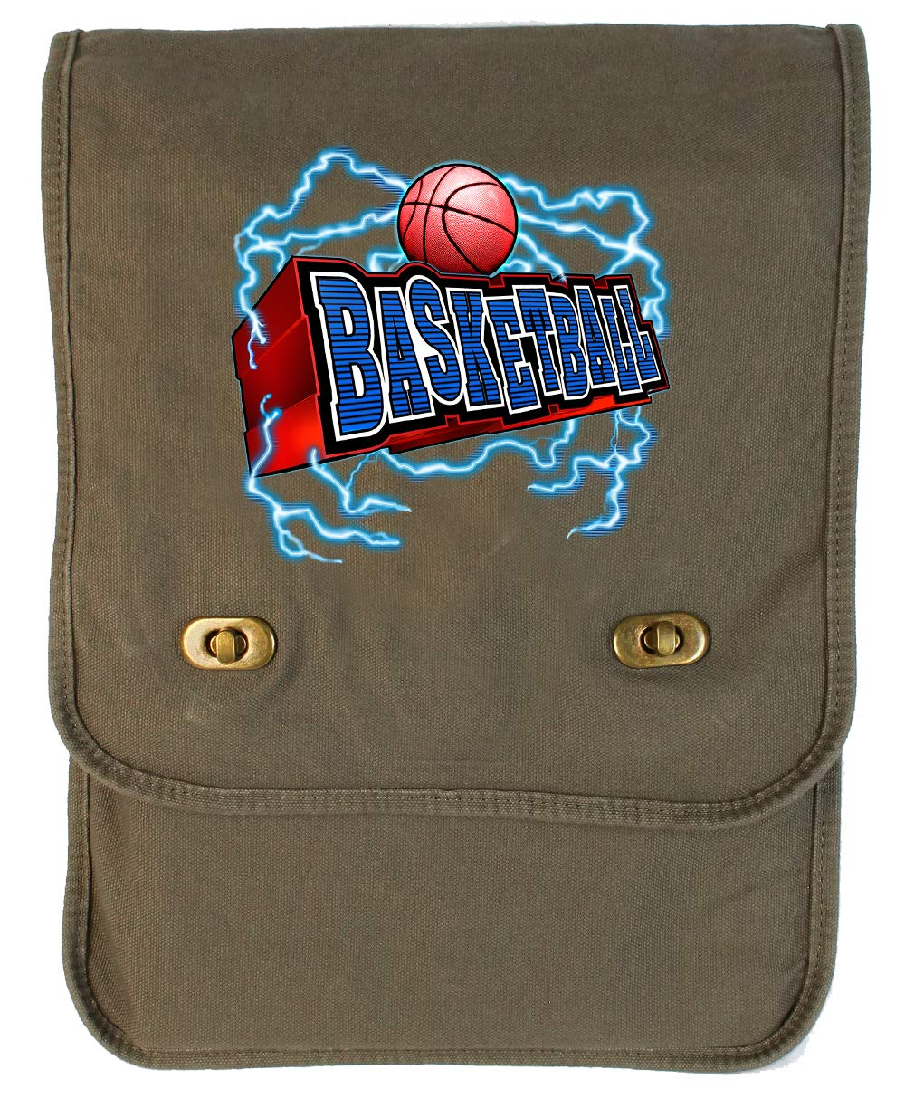 Tenacitee Basketball Lightning Typography Grey Brushed Canvas Messenger Bag