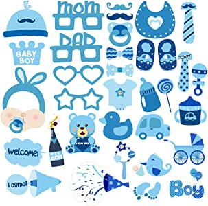 34Pcs Baby Shower Decoration 100Th Day Party Favor Photo Props Set (Blue)