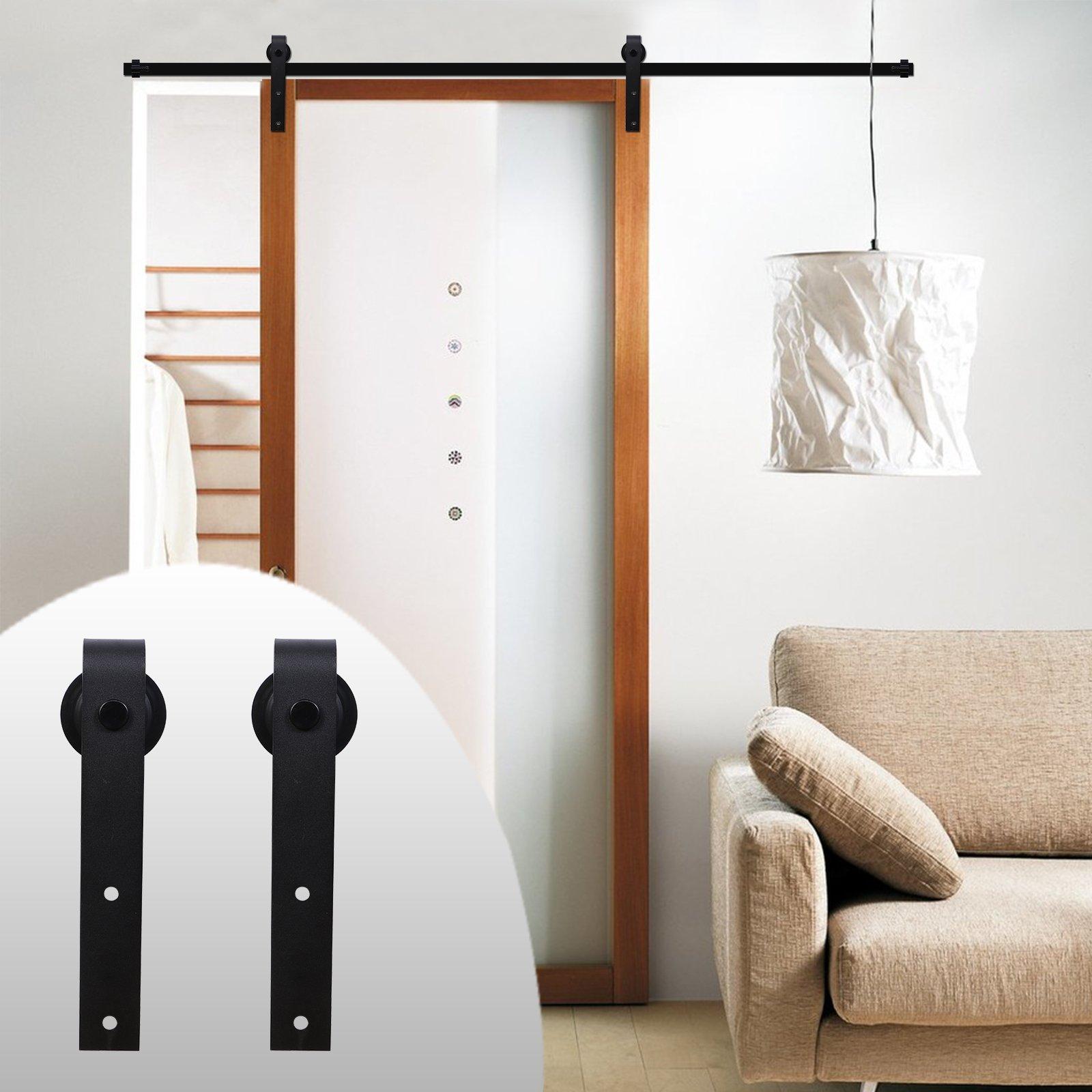 LWZH American Style 4FT Sliding Wood Barn Door Steel Hardware Kit for Single Door(Black J Shaped Hangers)