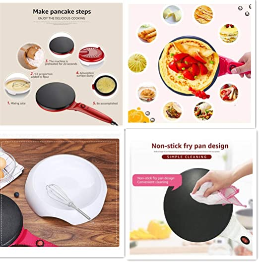 Portable Mini Crepe Maker Electric Griddle Non-Stick Crepe Pan for Crepes Tortilla Red Blintzes Bacon Pancakes Mini Cooking Tools for Individual Pancakes