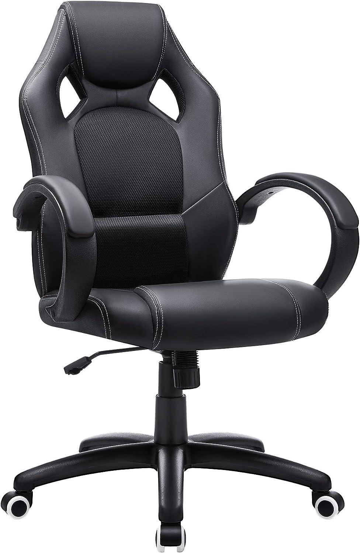 SONGMICS Racing Stuhl Bürostuhl Gaming Stuhl Chefsessel Drehstuhl PU, schwarz, OBG56B