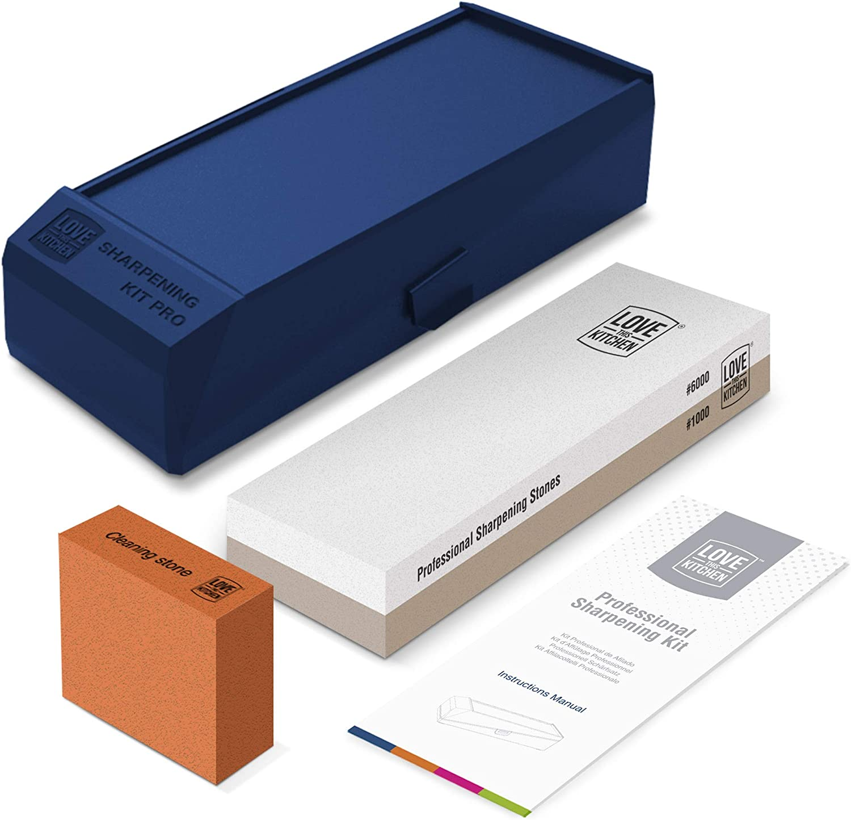 Kit Premium de Piedras de Afilar Cuchillos 1000/6000 – Ideal Para Cuchillos de Chef, Cocina y Exteriores - Piedra de Agua Larga, de 21 x 7 cm. Caja Plástica Antideslizante Doble Ángulo (No Bambú)
