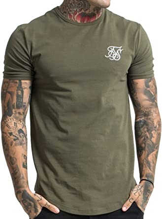 Sik Silk Mens Gym Logo T-Shirt, Green, X-Large